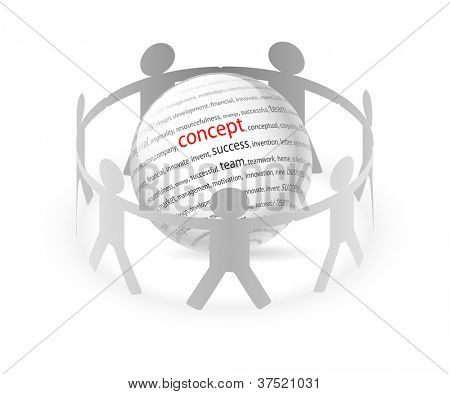 Illustration of paper people around business concept. Vector.