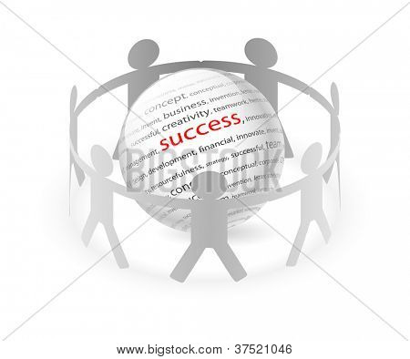 Illustration of paper people around business success. Vector.