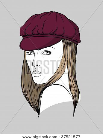 Woman with burgundy hat