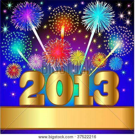 New Year Background With Salute And Gold(en) Numeral