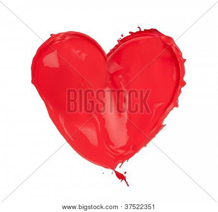 Red heart made of paint splashes, isolated on white background