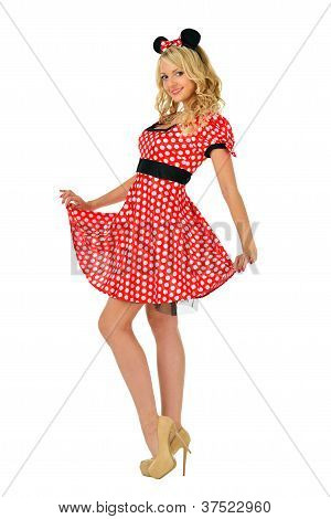 Beautiful  Blonde Woman In Mouse Mascarade Costume.