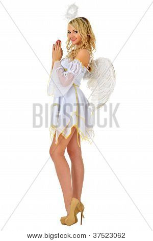 Beautiful Blonde In Masacarade Costume Of Angel.