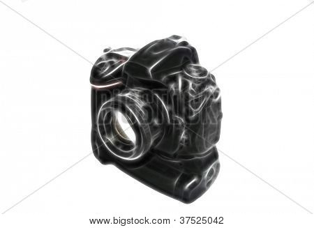 Sketch of professional digital photo camera with lens and battery pack isolated on white background