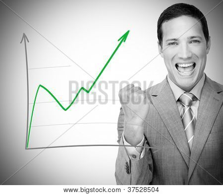 Businessman happy with graph