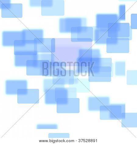 Blue squares melding together against a white background