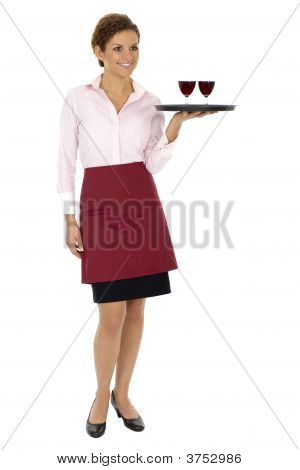 Waitress Carrying Tray Of Wine