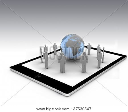 Stick figures standing around the blue globe on a tablet pc