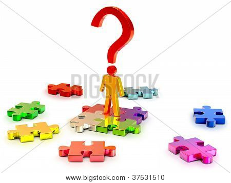 person searchs right solution in puzzles