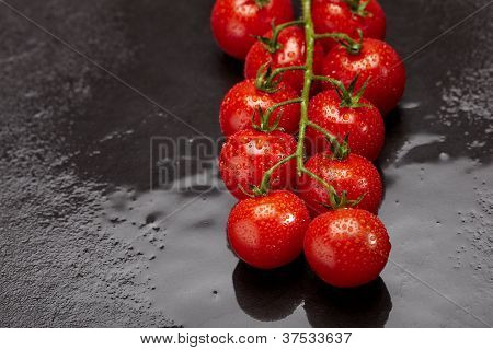 Fresh And Wet Cherry Tomatoes