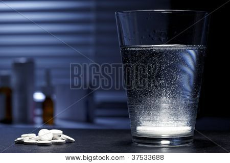 Fizzy Effervescent Tablet In A Glass