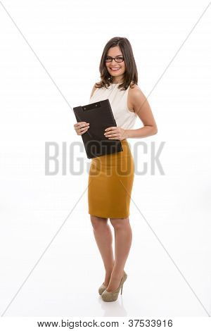 Happy Businesswoman With Black Folder