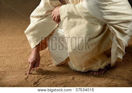 Jesus Writing on the sand with his finger