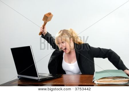 Cute Businesswoman Angry With Pc