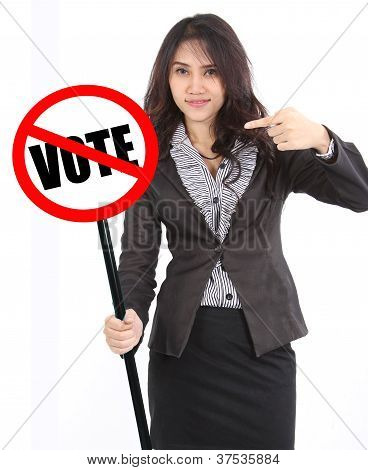 Woman Holding Vote Sign