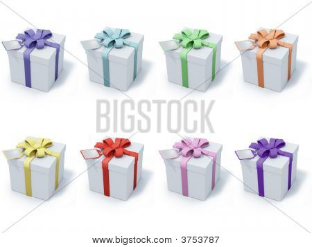Four Present Boxes On White Background
