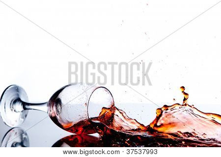 Red trickle splashing on the floor against a white background