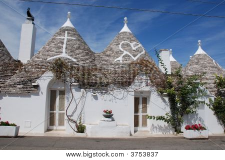 Trulli Roofs With Christian Symbols