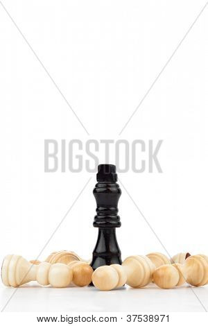 Pieces of chess game against a white background