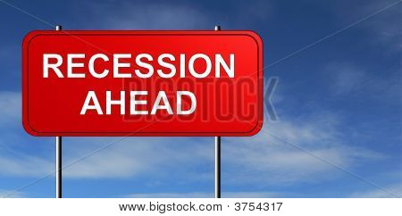 Recession Ahead Road Sign