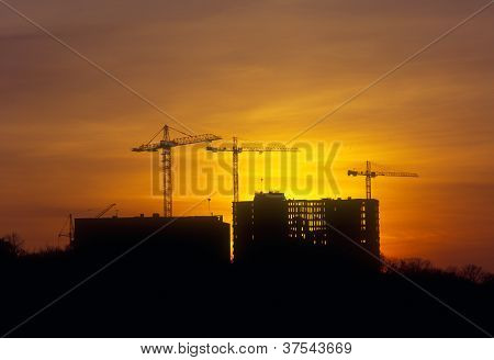 Sunset At The Construction Site.