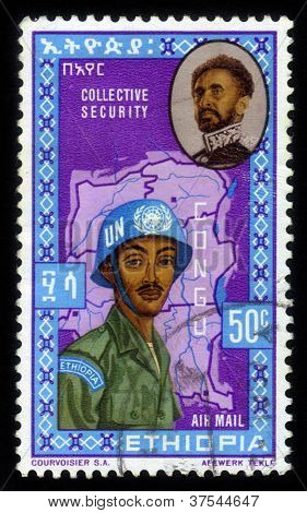 Emperor Haile Selassie And Un Soldiers