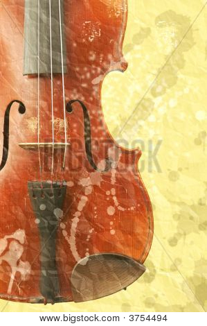 Background With Old Fiddle In Grunge Style
