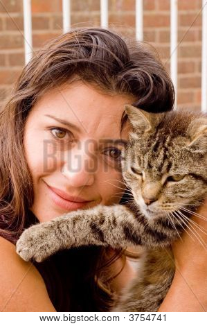 Woman with Tom cat