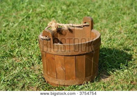 Wooden Bucket On Grass