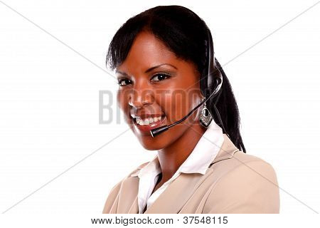 Smiling Young Female Wearing A Headset