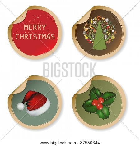 4 Vintage Christmas Labels, Isolated On White Background