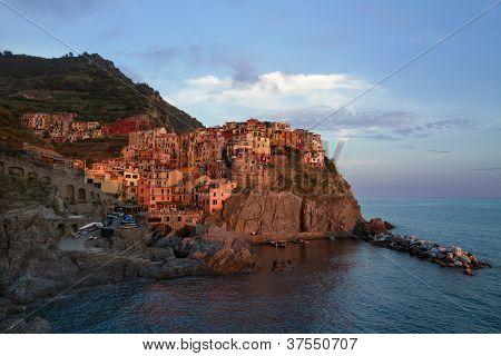 Village of Manarola at sunset, Cinque Terre, Italy