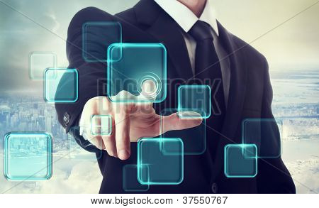 Businessman Pushing Button