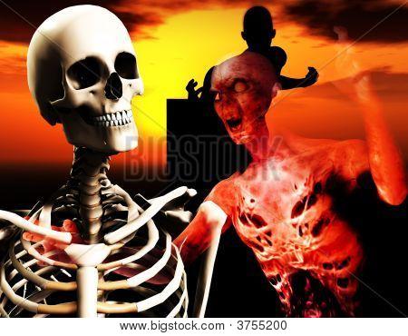 Zombie And Skull Head