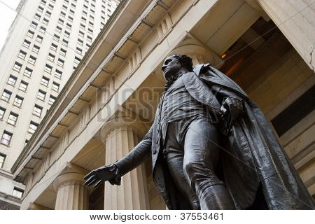 George Washington At The Federal Hall On Wall St., New York