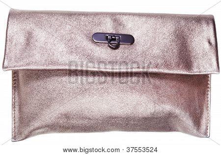 Golden Leather Clutch Bag