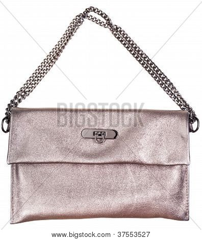 Gold Leather Clutch Bag With Chain Belt