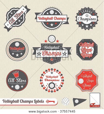 Vector Set: Vintage Volleyball League Labels