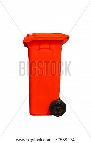 Large Red Trash Can, Side View
