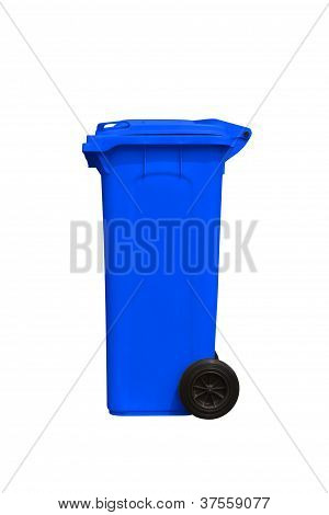 Large Blue Trash Can, Side View
