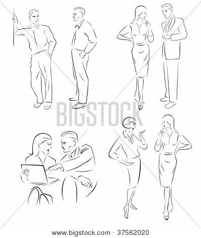 Illustration conversing characters. Four pairs of men and women talking.