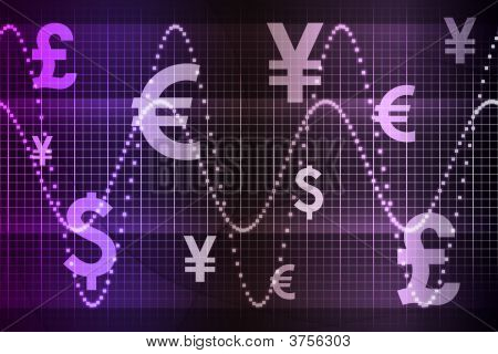Purple World Currencies Business Abstract Background
