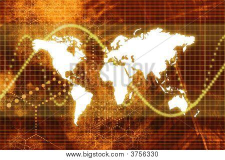 Economía mundial de bolsa naranja