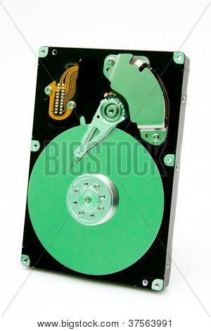 Ge�ffnete Festplatte Mit Gr�ner Reflektion