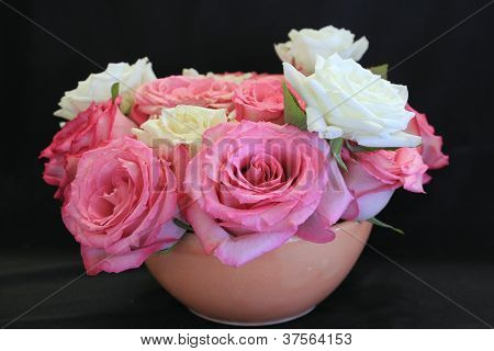 Pretty terra cotta bowl with roses