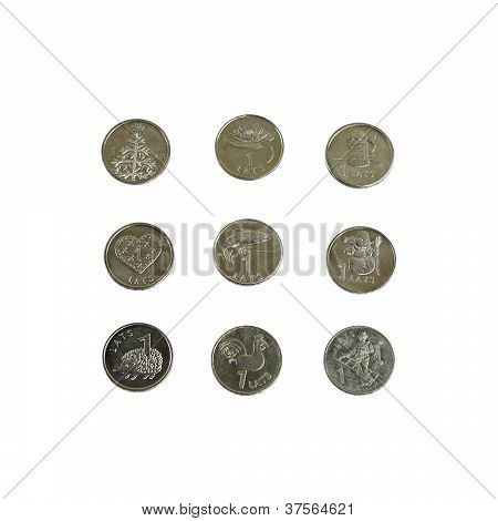 Set Of Latvian One Lat Coins
