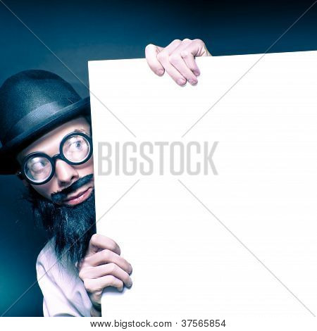 Curious Old Nerd Holding Blank Copyspace Billboard