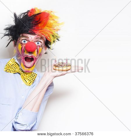 Surprise Happy Birthday Clown Holding Party Cake