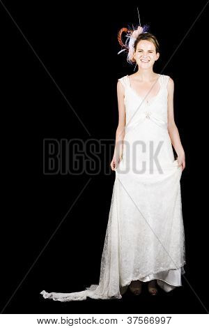 Full Body Portrait Of A Bride With Smile On Black