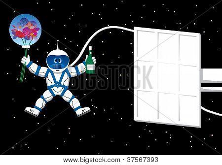 Astronauta con tarjeta de flores